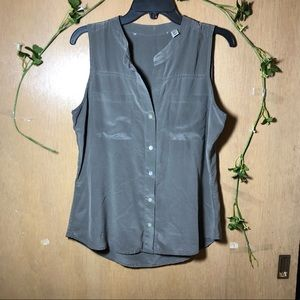 Max Studio 100% Silk Green Button Down Tank Top